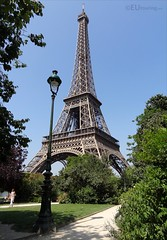 The tall Eiffel Tower over gardens