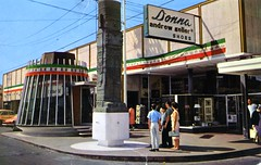 Tijuana Tourist Information Booth Mexico (Edge and corner wear) Tags: vintage postcard pc mexico visitor center tourists street main round glass building architecture modern midcentury modernism family storefront window display donna andrew geller shoes shoestore rack greetings earthlings