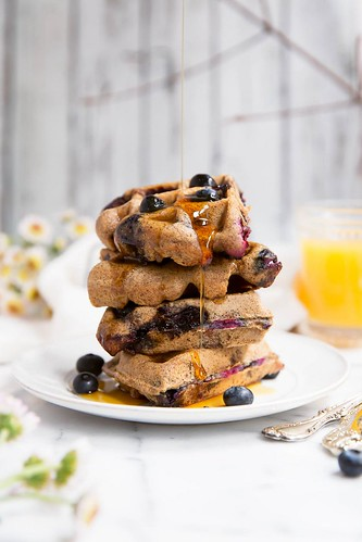 Healthy Eating  : Blueberry paleo waffles made with almond butter and just a tiny bit of coconut f...