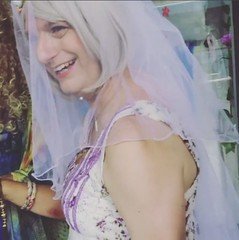 The Happiest Day Of My Life (justplainrachel) Tags: justplainrachel wedding bride oxfordstreet mardigras sydney australia art installation crossdresser transvestite tgirl trans veil floral frock treeoflife gown dress