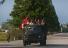 North Korean workers with a red flag at the back of a truck, North Hamgyong Province, Chilbo Sea, North Korea (Eric Lafforgue) Tags: adults adultsonly asia colourimage communism dailylife day dictatorship dprk flag groupofpeople horizontal koreanculture men menonly modeoftransport motion motorvehicle motorizedvehicleriding nk110178 northkorea onthemove outdoors people propaganda road transporation transportation truck women workers chilbosea northhamgyongprovince 北朝鮮 북한 朝鮮民主主義人民共和国 조선 coreadelnorte coréedunord coréiadonorte coreiadonorte 조선민주주의인민공화국 เกาหลีเหนือ קוריאההצפונית koreapółnocna koreautara kuzeykore nordkorea північнакорея севернакореја севернакорея severníkorea βόρειακορέα