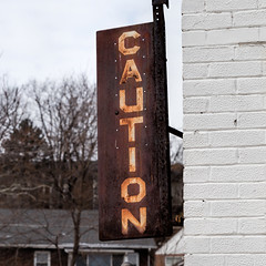 Caution (Mike Matney Photography) Tags: 2017 baden canon eos6d january midwest missouri photoflood stl stlouis urban sign unitedstates us