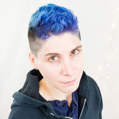 02.03.18 (sciencensorcery) Tags: selfportrait nonbinary bluehair purplehair mohawk genderqueer