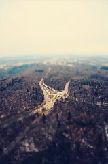 Crossroads (DrQ_Emilian) Tags: landscape view forest woods trees roads crossroads far high sky clouds fog foggy light colors details outdoors travel urban explore visit stuttgart badenwürttemberg germany europe tiltshift miniature