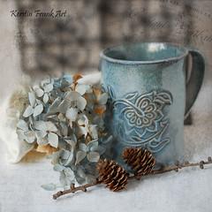 Still life with Hydrangea (Kerstin Frank art) Tags: texture kerstinfrankart ceramic mugg handmade hydrangea flowers