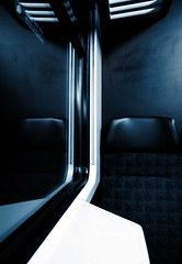 Introspection... (Sabine-Barras) Tags: suisse switzerland night nuit train reflet reflection bleu blue dark