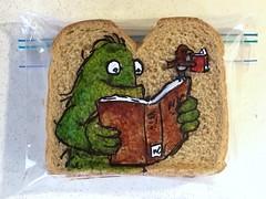 Read library books with a friend (D Laferriere) Tags: green bird creature library books read book kritzels laferriere attleboro sandwich bag art sharpie