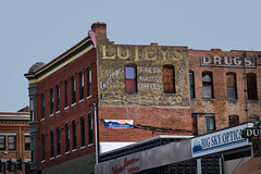 Lutey's Drugs (Noland Voide) Tags: montana drugs store ghost sign abandoned decaying old city red brick walls