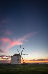 The Windmill (Fernando Piçarra) Tags: dusk sunset sunrise dramatic sky twilight sun dawn moody cloud horizon over land long shot clouds sea outdoors field travel sunlight blue light summer windmill hour sundown sintra portugal