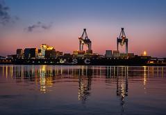 Container Terminal Altenwerder (StoneAgeKid) Tags: cta container terminal altenwerder hamburg elbe sunset sonneuntergang blue hour blaue stunde wasser containerschiff msc elodie
