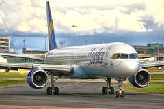 Condor B-757-300 D-ABOM (alex kerr photography) Tags: boeing 757300 condor thomascook manchesterairport egcc boeing757300 avgeek avp aviation airlines airliner aircraft plane