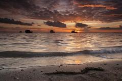 Essex Thorpe Bay (daveknight1946) Tags: essex riverthames thorpebay seaweed boats pinkclouds greatphotographers sundaylights water