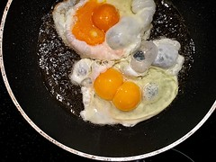 #Twins (RenateEurope) Tags: 2018 renateeurope yellow iphoneography eidotter eggyolk friedeggs spiegeleier twins eggs