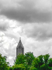 """""""We must laugh and cry, enjoy and suffer, in a word, vibrate to our full capacity … I think that's what being really human means."""" ―Gustave Flaubert ☁️ 🌳 ☁️ (anokarina) Tags: appleiphone7 adobephotoshopexpress colorsplash green trees foliage skyscraper architecture design clouds cloudy iconic landmark atlanta georgia atl ga oldfourthward hotlanta"""