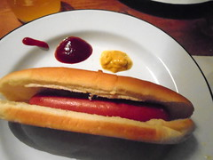 DSC03773 (classroomcamera) Tags: home house hotdog snack lunch dinner ketchup catsup mustard condiment condiments meat sausage bun bread eat eating uneaten plate closeup meal