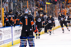 """Kansas City Mavericks vs. Toledo Walleye, January 20, 2018, Silverstein Eye Centers Arena, Independence, Missouri.  Photo: © John Howe / Howe Creative Photography, all rights reserved 2018. • <a style=""""font-size:0.8em;"""" href=""""http://www.flickr.com/photos/134016632@N02/25966338058/"""" target=""""_blank"""">View on Flickr</a>"""