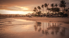 Costa Teguise (Ian Emerson) Tags: holiday lanzarote spain europe january winter sunshine break beach sea sunset sand volcano palm trees reflection water outdoor evening canon