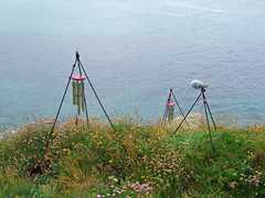 Recording wind chimes on low clifftop near Gwynver (Philip_Goddard) Tags: europe unitedkingdom britain british britishisles greatbritain uk england southwestengland cornwall windchimes recording sea