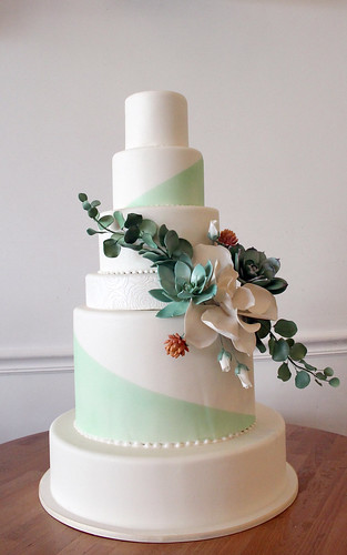 Modern Succulent Spray Wedding Cake