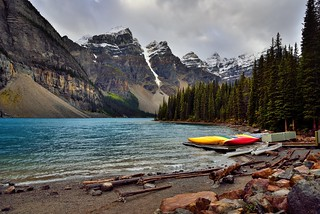 Colors of Canoes Along the Shores of Moraine Lake (Banff National Park)