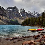 Colors of Canoes Along the Shores of Moraine Lake (Banff National Park) thumbnail