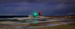 In the Eye of the Storm (T P Mann Photography) Tags: charlevoix michigan lighthouse light winter ice cold winds waves shore beach pier lak sea seascape night low long exposure canon storm whitecaps panoramic pano ngc