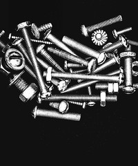 Macro Monday Fasteners (peggypryor68) Tags: 2018 2192018 fasteners foundinthegarage washers nuts february bolts macromonday blackbackground