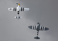 Mustang & Spitfire (Bernie Condon) Tags: formation pair vickers supermarine spitfire warplane fighter raf royalairforce fightercommand ww2 battleofbritian military preserved vintage aircraft plane flying aviation mustang northamerican usaaf us classic p51