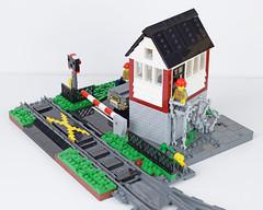 Santa Maria Rail Signal Box 2 (Cuahchic) Tags: lego train minifig car signalbox grass trafficlight crossing stairs landscape