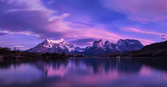 Good morning Patagonia! (beaugraph) Tags: lakepehoe patagonia torresdelpaine southamerica landscape reflection stars sunrise bluehour