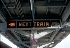 "CTA ""Next Train"" Sign Linden Sep 93 (jsmatlak) Tags: chicago cta l elevated subway metro train electric railway evanston wilmette linden"
