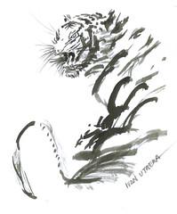 tigre en tinta china (ivanutrera) Tags: tiger tigre painting tintachina animal wild wildlife felino minino brushwork paintwork paintbrush