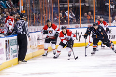 "Kansas City Mavericks vs. Cincinnati Cyclones, February 3, 2018, Silverstein Eye Centers Arena, Independence, Missouri.  Photo: © John Howe / Howe Creative Photography, all rights reserved 2018. • <a style=""font-size:0.8em;"" href=""http://www.flickr.com/photos/134016632@N02/28338399279/"" target=""_blank"">View on Flickr</a>"