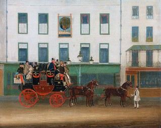 "'The London-Manchester Stage Coach, ""the Peveril of the Peak,"" outside the Peacock Inn, Islington' by James Pollard (1792-1867)"