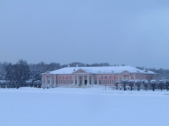 the palace in winter (VERUSHKA4) Tags: palace museum historic place vue view park kuskovo outdoor winter hiver wintertime pink facade album canon pond neve neige blanc white europe russia moscow february day cloudy window astoundingimage column