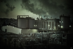 human heritage (*altglas*) Tags: industry industrie pollution smoke dawn paper papier fabrik rauch tilted