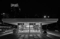 An empty cafe (Antti Tassberg) Tags: 24mmts fazer yö tapiola bw hdr kaupunki arkkitehtuuri cafe rakennus 24mm architecture blackandwhite building city cityscape dark espoo lens lowlight monochrome night nightscape prime tiltshift urban uusimaa finland fi