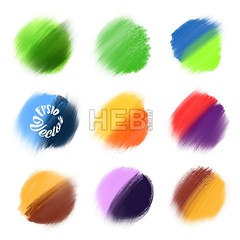 9 Colored Vector paint elements. (Hebstreits) Tags: abstract background beautiful bright brush circle circles collection color colorful decoration design drawing drawn element graphic hand illustration ink isolated nice paint painted round set shape splash spot template texture tones two vector watercolor watercolour