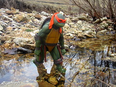 Mikey crossing the creekbed (cncfigurephotography) Tags: neca tmnt teenage mutant ninja turtles figures 14 scale toys action figure photography comic comics cartoons 80s 90s hiking creek camping mikey leo donny raph cosplay cosplayer turtlepower toy collector movie movies