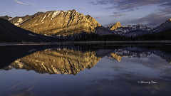 Upper Lake Mirror (Canon Queen Rocks (2,030,000 + views)) Tags: reflections mirror mountains mountainpeak mountain sky scenery scenic nature upperlake kananaskis alberta clouds colours canada landscape lake landscapes lakes sunrise shadows momentsbycelinecom rockies