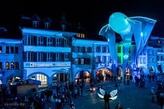 Festival des lumières Morat 2018 (Switzerland) (christian.rey) Tags: murten freiburg suisse ch lichtfestival festival des lumières morat 2018 licht fribourg hauptgasse ville town ligths nuit nacht nigth bleu blue blau sony alpha a7r2 a7rii 1635