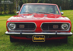 Steelers Fan (Hi-Fi Fotos) Tags: plymouth barracuda 60s vintage mopar american classiccar red steelers plate nikon d7200 dx hififotos hallewell