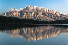 Mount Rundle seen from Two Jack Lake, early morning (explored) (birgitmischewski) Tags: twojacklake mountrundle banffnationalpark banff