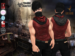 Zombie Hunter Red Shirt Poster (stephentryce) Tags: shirt tank men guys boys zombie scarf mask sl secondlife avatar virtual fashion apocalypse wasteland