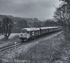 20180217-IMG_0113-Edit (deltic21) Tags: type 4 class 50 50015 valiant whistler ee english electric br blue east lancs lancashire railway rail rails train trains track tracks loco locomotive power traction classic heritage preservation preserved north west bury ramsbottom rawtenstall burrs summerseat bridge outdoor nature trees line lineside monochrome mono black white british diesel gala thrash haulage wheel wheels steel bogie bogies bw