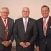 Chancellor Randy Woodson along wih 2018 Watauga Award winners Bill Collins (left) and Benjamin Jenkins III (right).