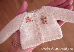 """Warm Hugs and Kisses"" made for the Little Darlings. (Cindy Rice Designs) Tags: doll dress effner littledarlings sweater sweatercoat hat knit embroidery"