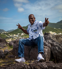 THE HAPPY TAXI DRIVER (clive_metcalfe) Tags: taxi driver guide stmaarten caribbean island fortlouis