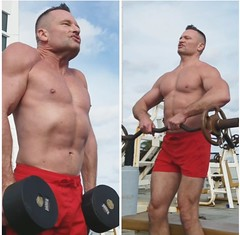 traps (ddman_70) Tags: shirtless gym workout muscle pecs traps outdoors shouldershrugs uprightrows
