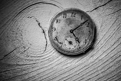IMG_5519logo (Annie Chartrand) Tags: watch pocketwatch time clock macro movement numbers dial face hands stilllife antique old classic wood patina rustic monochrome black white bw